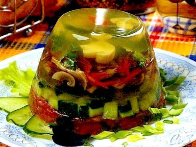 Заливное из овощей и грибов